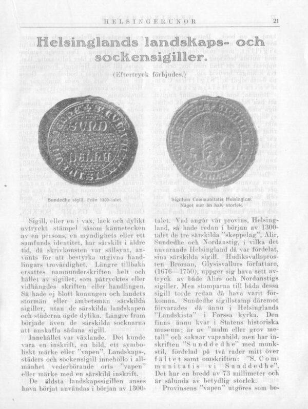 Hälsinglands landskapssigill i Hälsingerunor 1921 sid.21