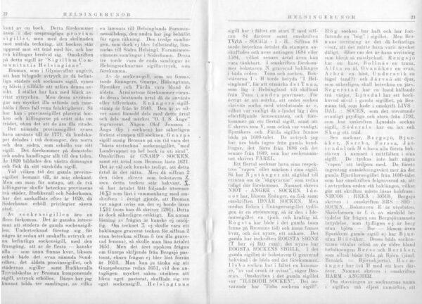 Hälsinglands landskapssigill i Hälsingerunor 1921 sid.22-23