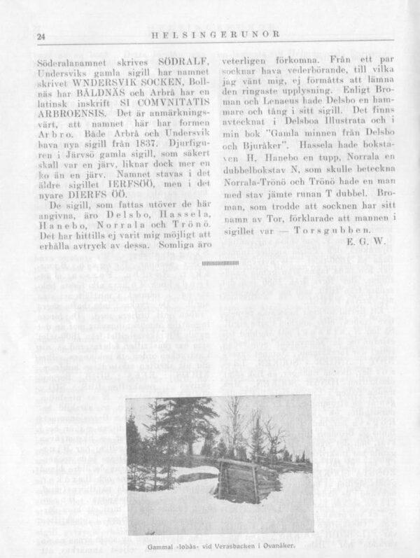 Hälsinglands landskapssigill i Hälsingerunor 1921 sid.24