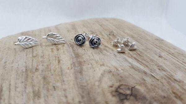 Knoppörhängen-Blad-Ros-Hjärta - silversmycke i äkta silver - handgjorda silversmycken från Brokig silversmycken