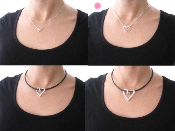 SILVERHJÄRTA-LILLA-hals - silversmycke i äkta silver - handgjorda silversmycken från Brokig silversmycken