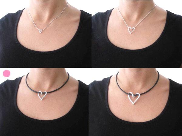 SILVERHJÄRTA-MELLAN-hals - silversmycke i äkta silver - handgjorda silversmycken från Brokig silversmycken