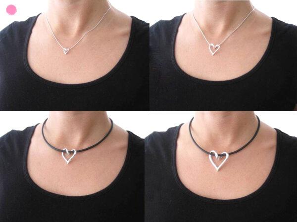 SILVERHJÄRTA-MINI-hals - silversmycke i äkta silver - handgjorda silversmycken från Brokig silversmycken