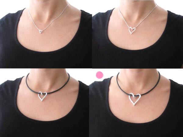 SILVERHJÄRTA-STORA-hals - silversmycke i äkta silver - handgjorda silversmycken från Brokig silversmycken