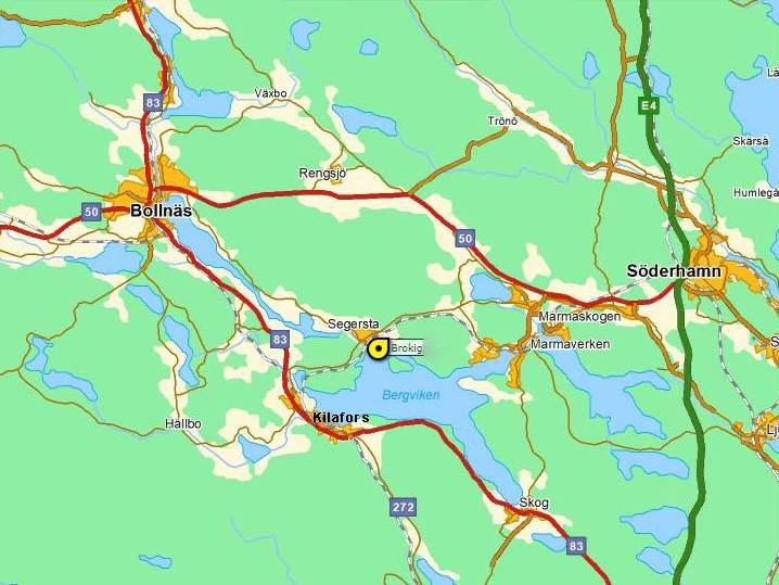 Brokig ligger i Segersta, mitt mellan Bollnäs och Söderhamn i Hälsingland.
