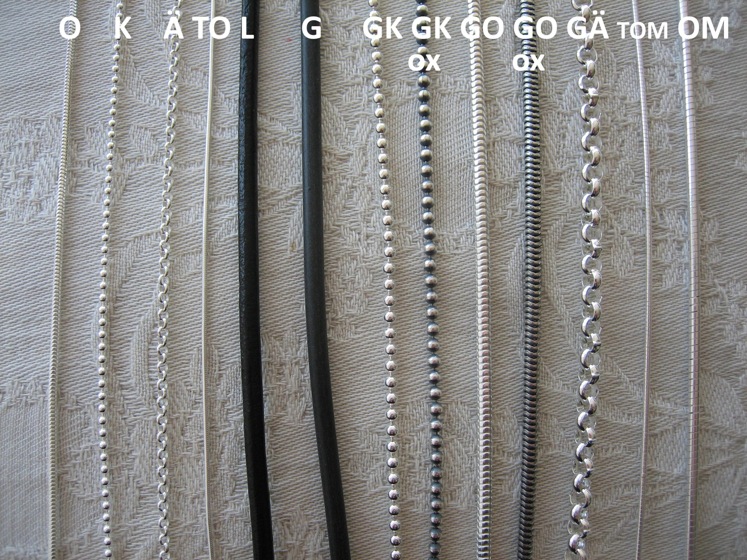 Jämför silverkedjor och remmar